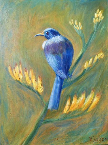 Tui painting in acrylics by Xanthe Wyse
